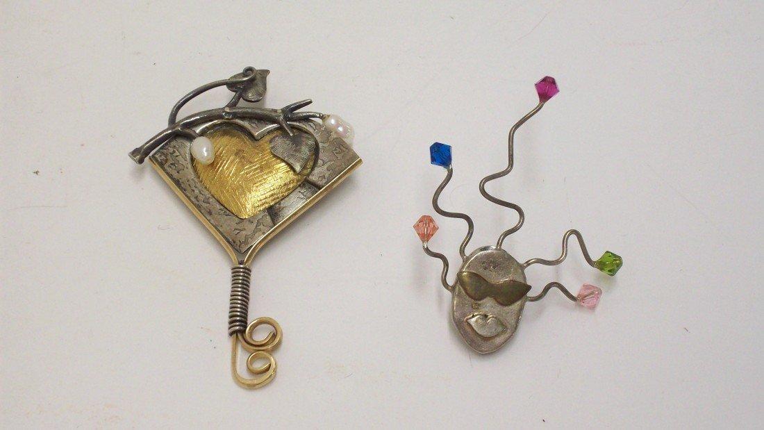 7: 2 Sterling Handmade Pins