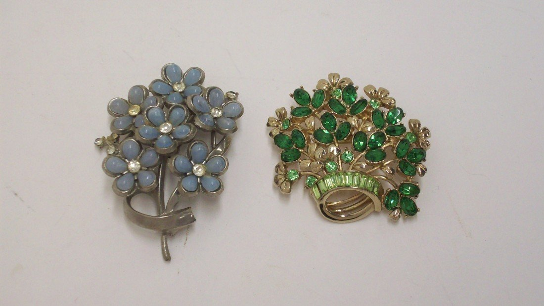 14: Coro Pale Blue /Rhinestone Brooch and Green Stone B