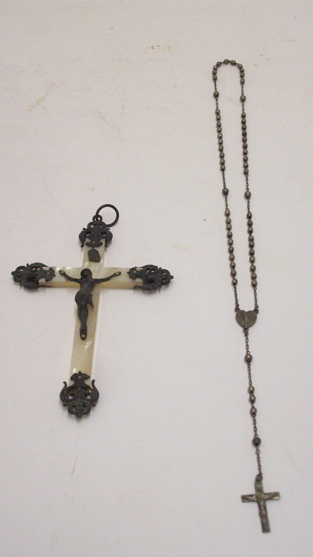 15: 19th Century MOP Crucifix and Sterling Rosary