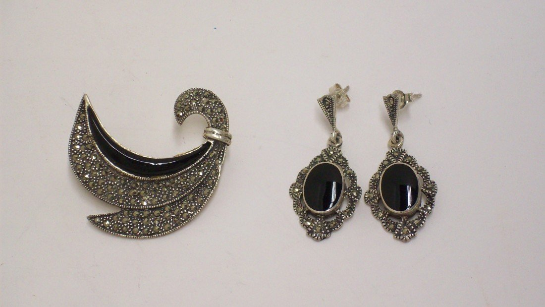 18: Sterling Pin and Earrings