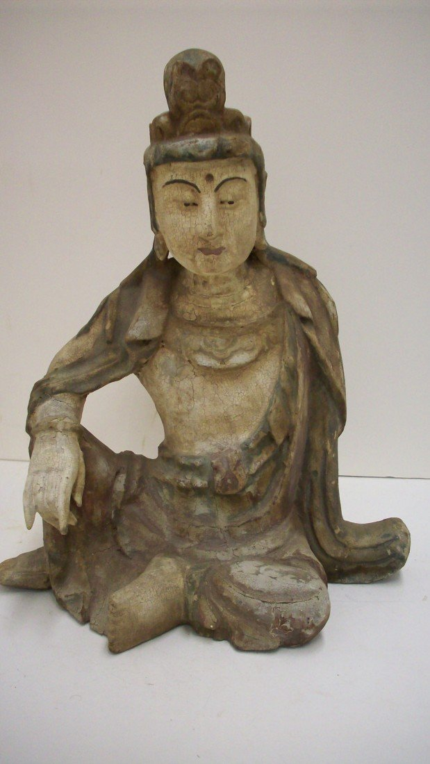 86: 19th Century Asian Painted Wood Carving