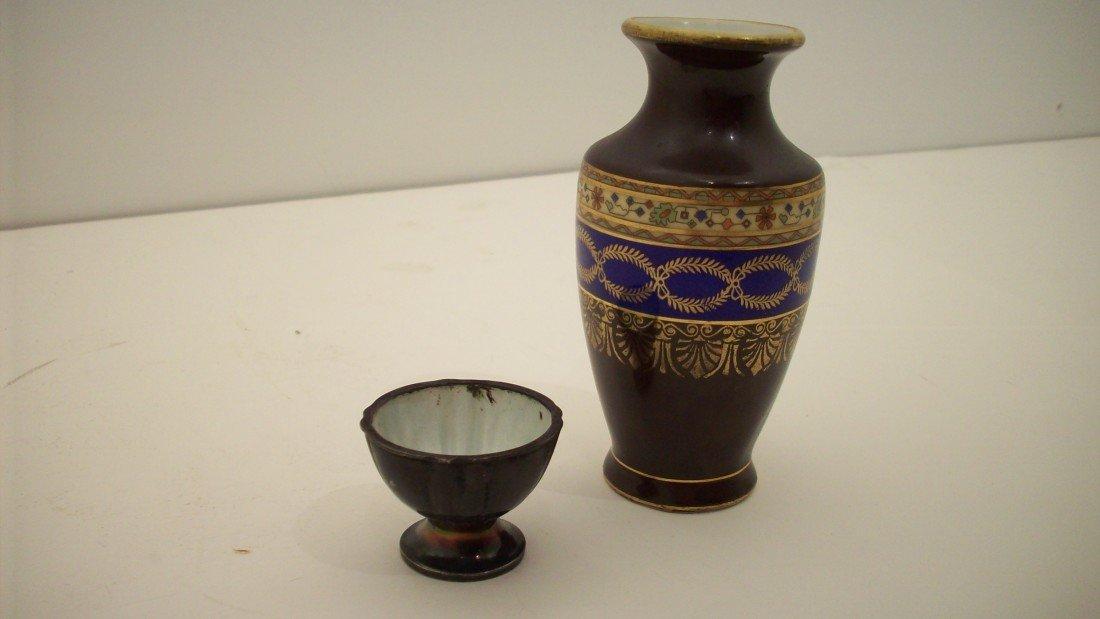 1: Carlsbad Porcelain Vase and Sterling/Porcelain Salt