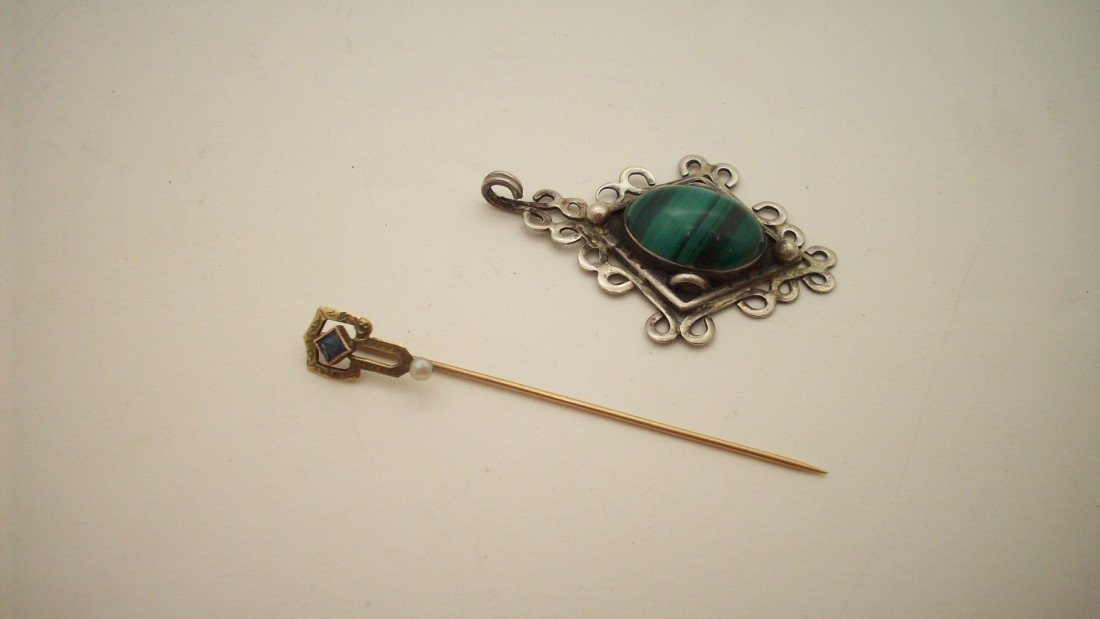 5: Gold Stick Pin and Silver Pendant