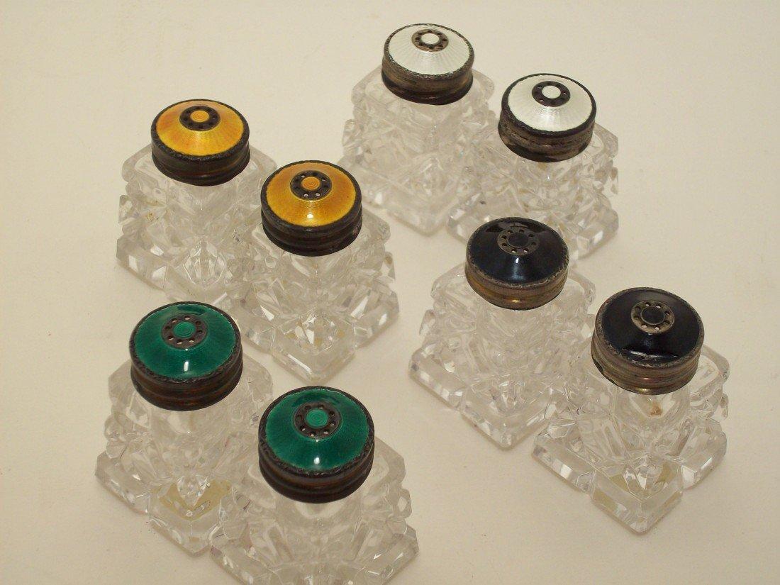 6: Sterling Enamel  Salt and Pepper Sets