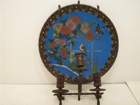Oriental Candle Holder With Painted Back Plate