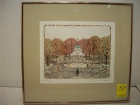 Cuca Romley Hand Colored Etching 'Parc Monceau'