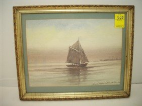 Joseph Anthony Atchison Watercolor Of Sailboat.