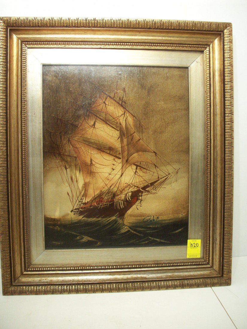 74: Oil On Canvas Of Large Sailing Vessel