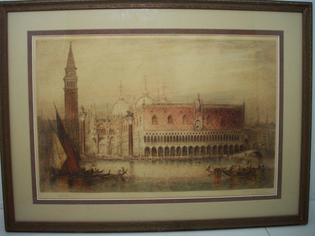 75: James Alphege Brewer Etching 'Venice'