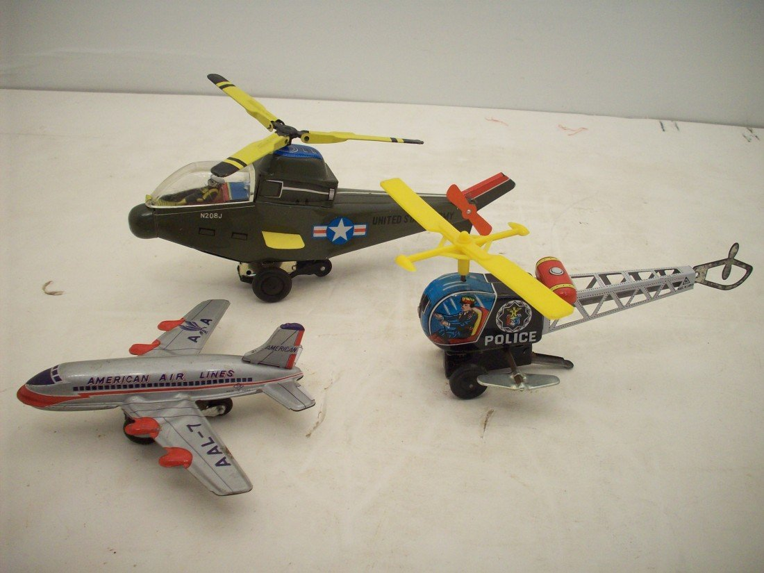 Lot of Tin Toy Helicopters and Plane