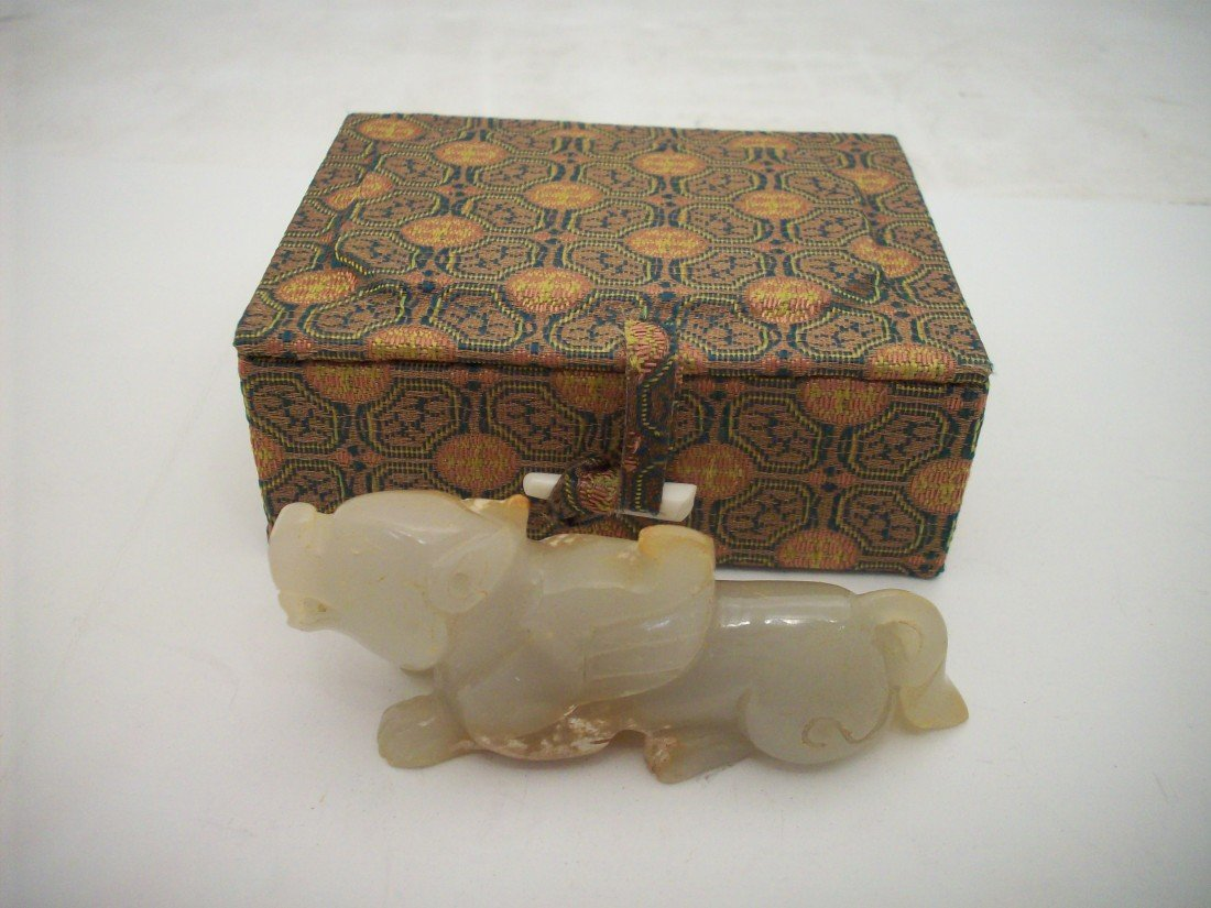 White Jade Carved Fu Dog