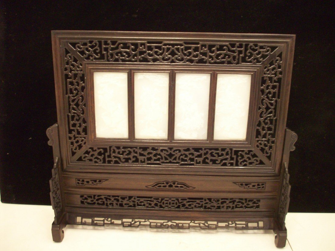 White Jade or Jade-like Material Rosewood Table Screen