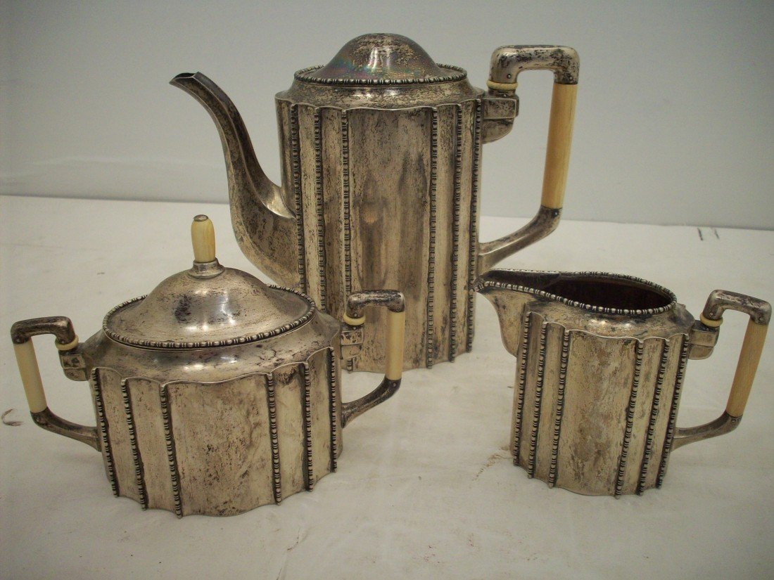800 Silver Tea Pot, Creamer and Sugar