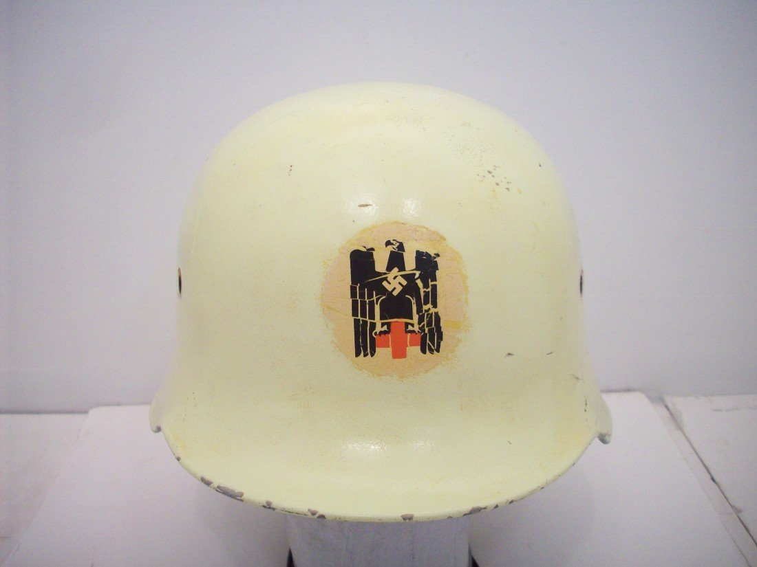 German White Medium Duty Helmet Red Cross