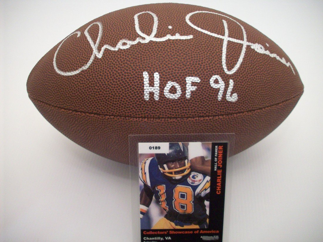 Charlie Joiner Autographed Football