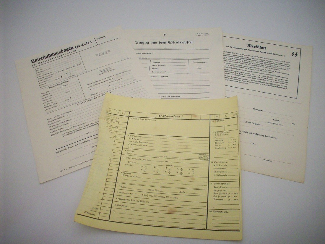 German SS Personal File Documents