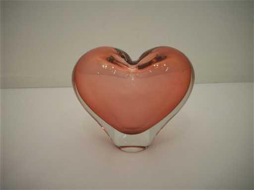 Javoslar Svoboda Art Glass Heart Vase