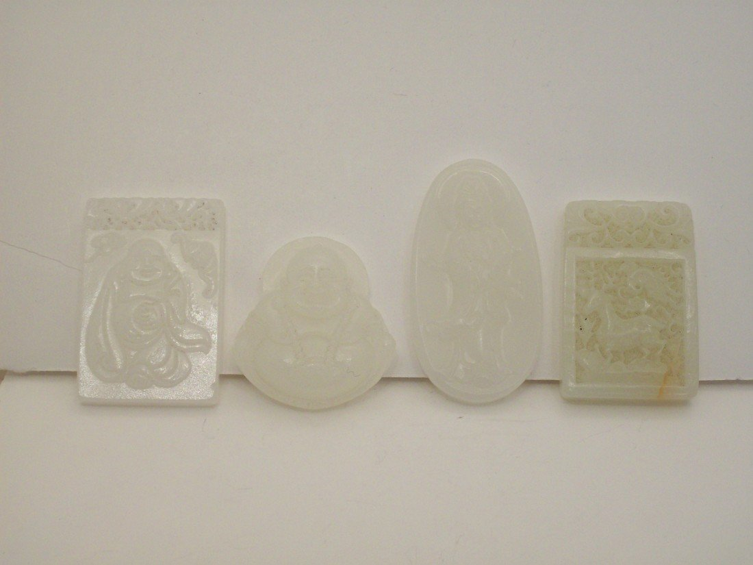 4 Pcs White Jade or Jade-like Material Pendants