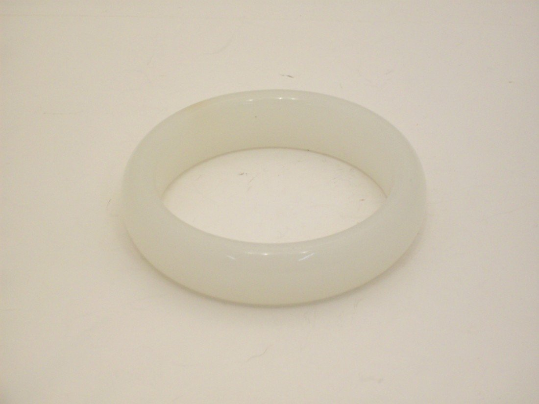 White Jade or Jade-like Material Bangle