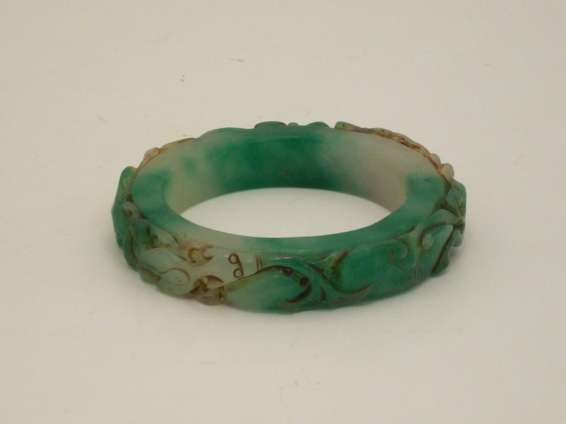 Carved Spinach Jade or Jade-like Material Bangle