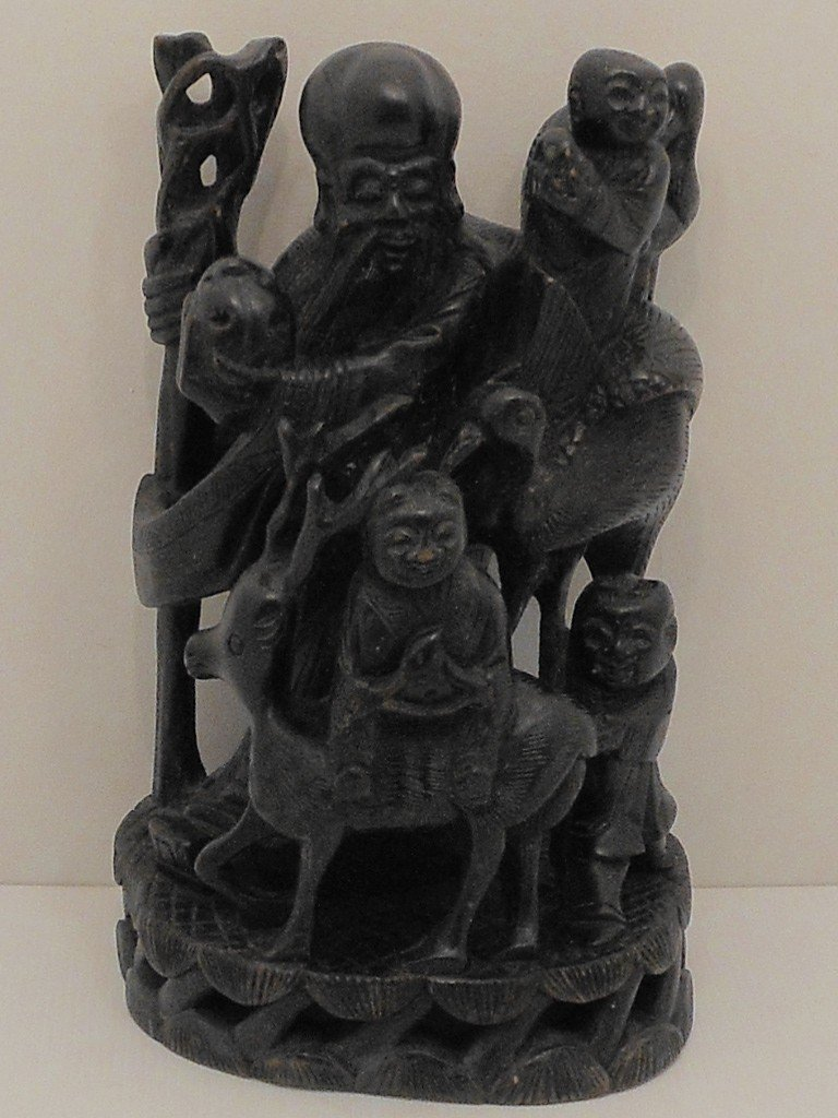 Carved Wood Wise Man With Birds Deer Kids