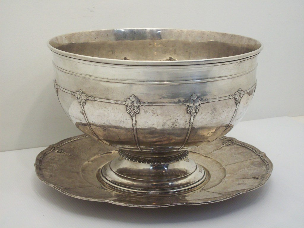 Large Arthur Stone Sterling Silver Punch Bowl, Underpl