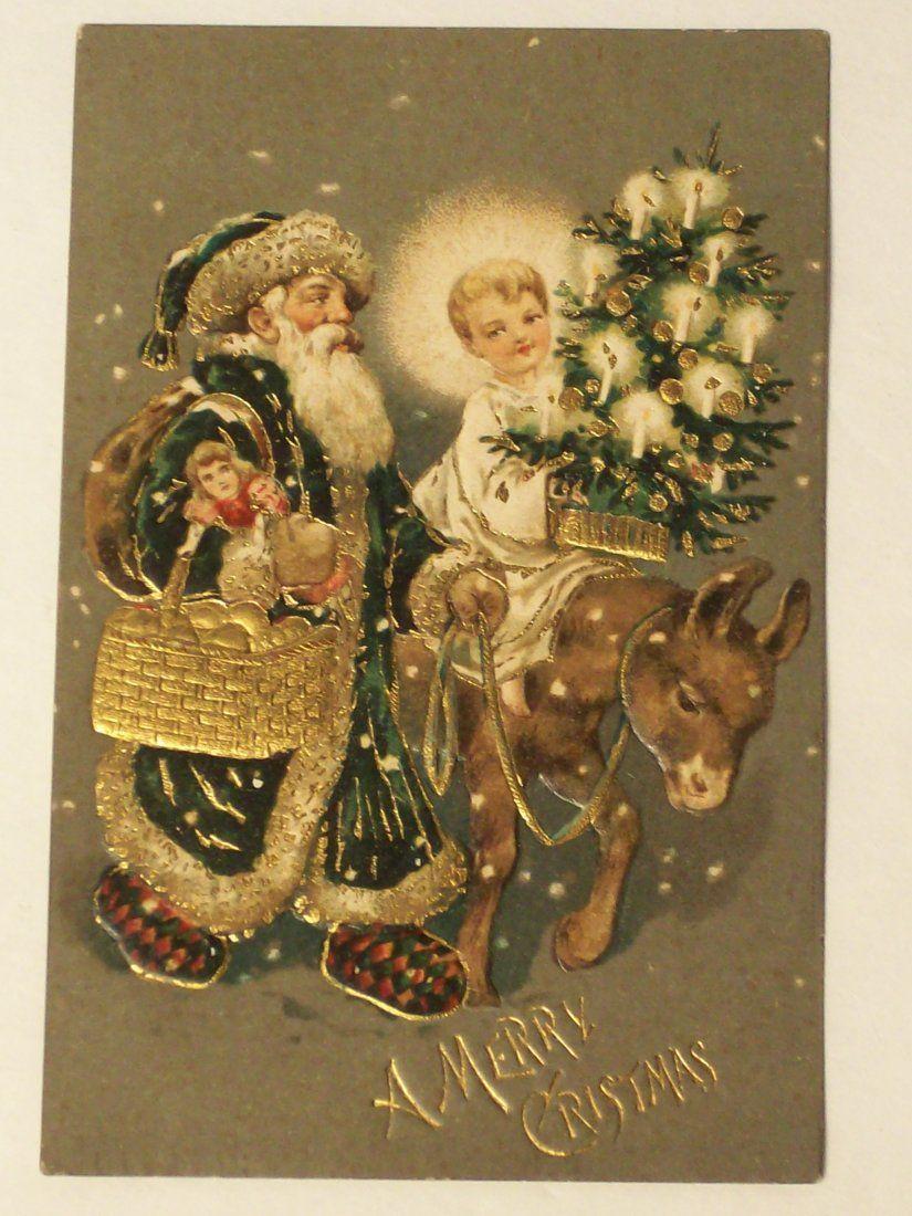 Postcard 'Christmas' Santa Green Coat