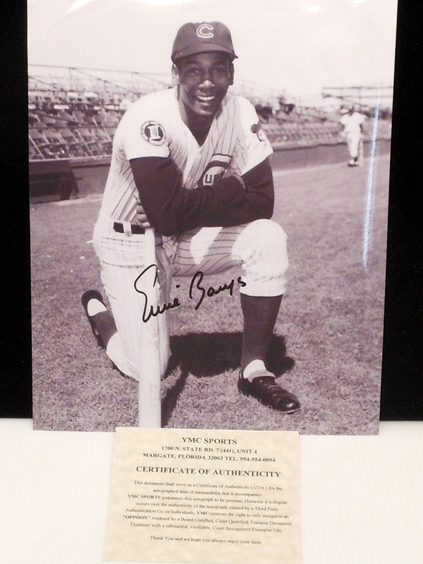 Ernie Banks Autograph Black and White Photo