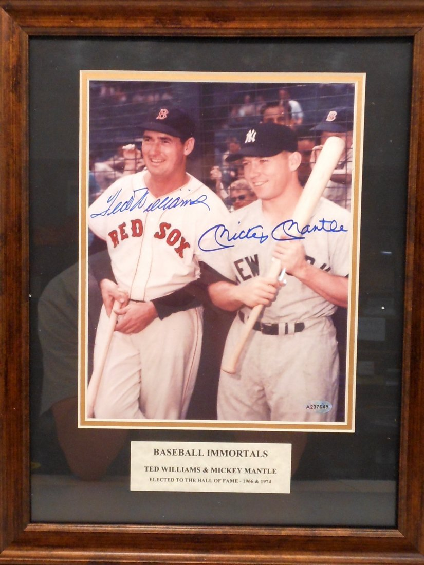Ted Williams and Mickey Mantle Autographs Framed Color