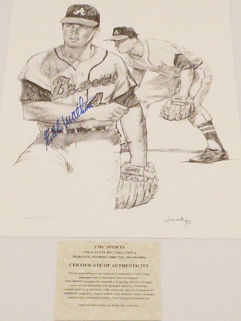 Eddie Mathews Autograph Pencil Drawing