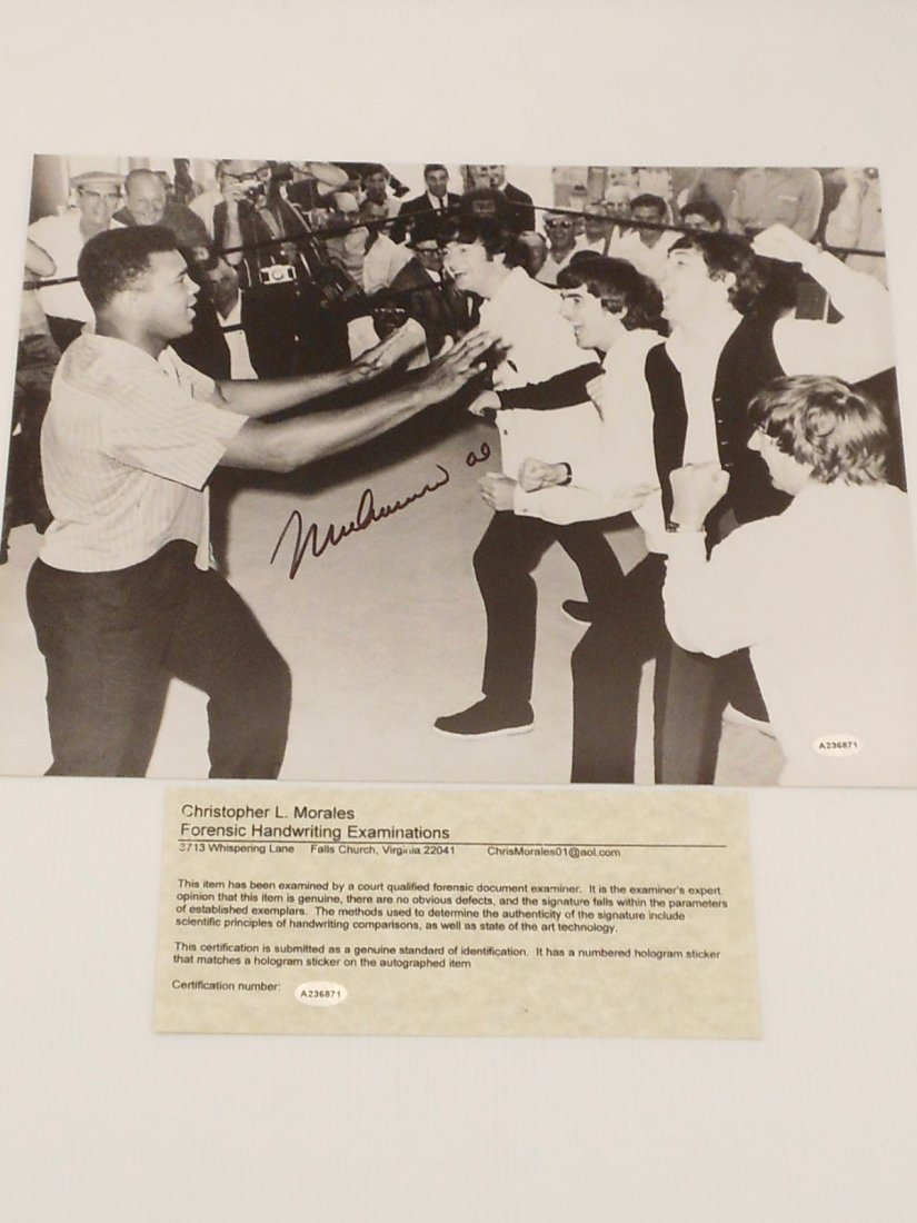 Muhammad Ali Autograph  Photo with The Beatles