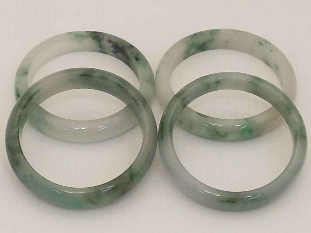 Two Pair Spinach Jade Bangles #2