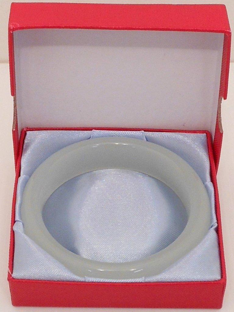 Large White Jade Bangle in Box