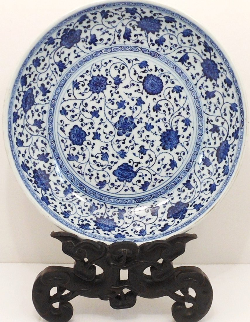 18-19th Century Blue and White Flower Charger