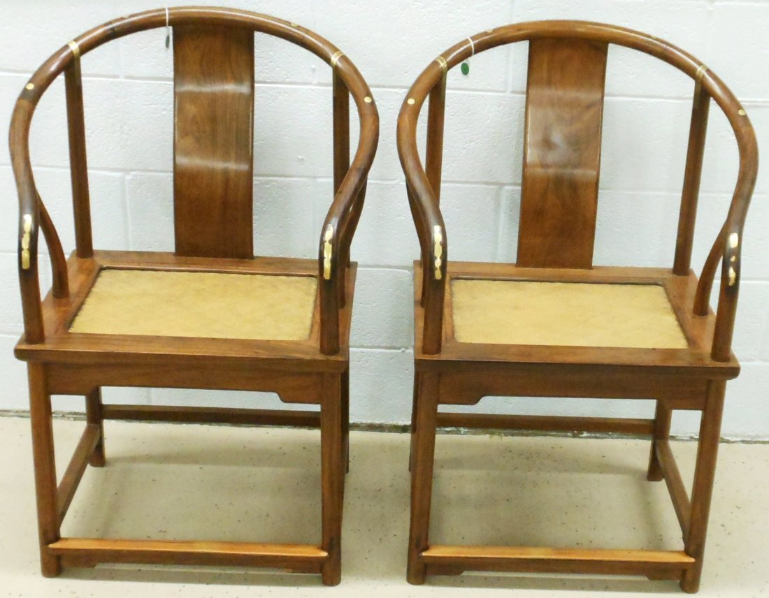 18-19th C. Continuous Horseshoe Huanghuali Armchairs