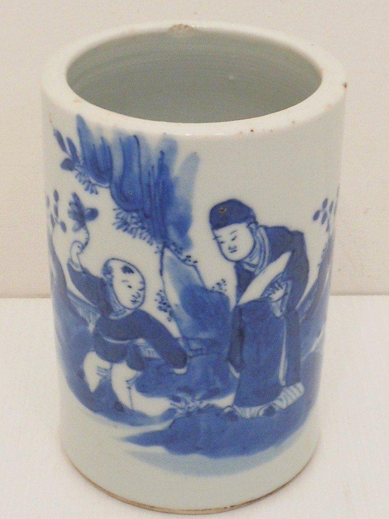 18-19th C. Qing Dynasty Blue & White Small Brush Pot