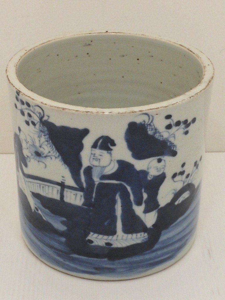 18-19th C. Qing Dynasty Blue and White Brush Pot