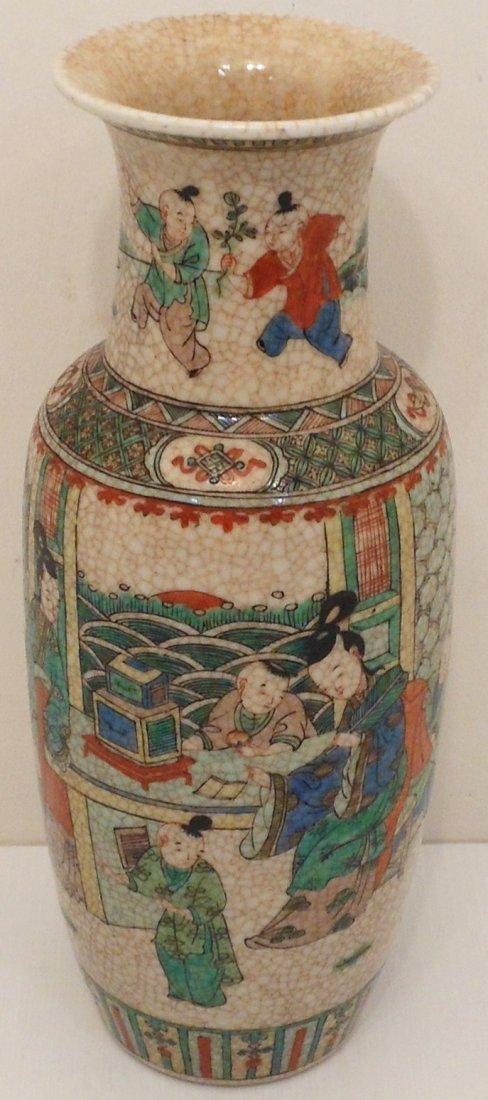 18-19th C. Famille Verte Porcelain Crackle Vase