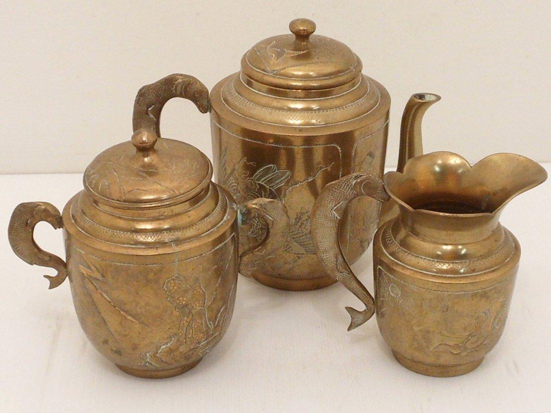 Antique Meiji Engraved  Metal Tea Set