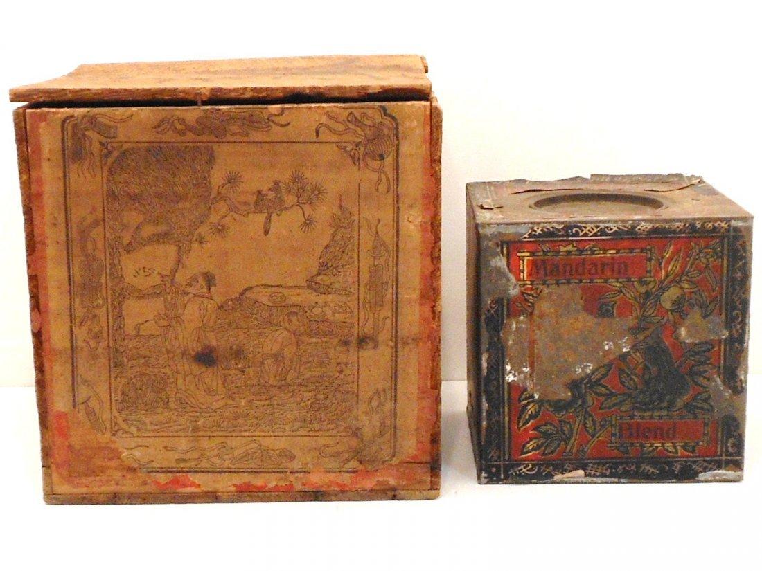 Antique Wood Tea Box With a Tea Tin