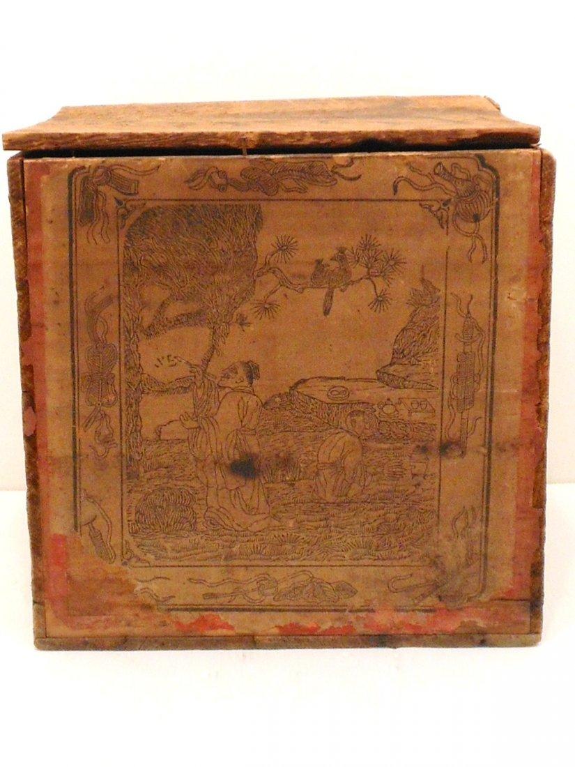Antique Wood Tea Box With a Tea Tin - 2