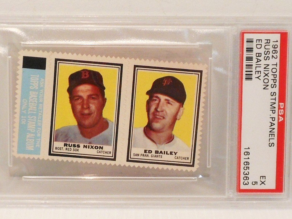 1962 Tops Russ Nixon and Ed Bailey Stamps