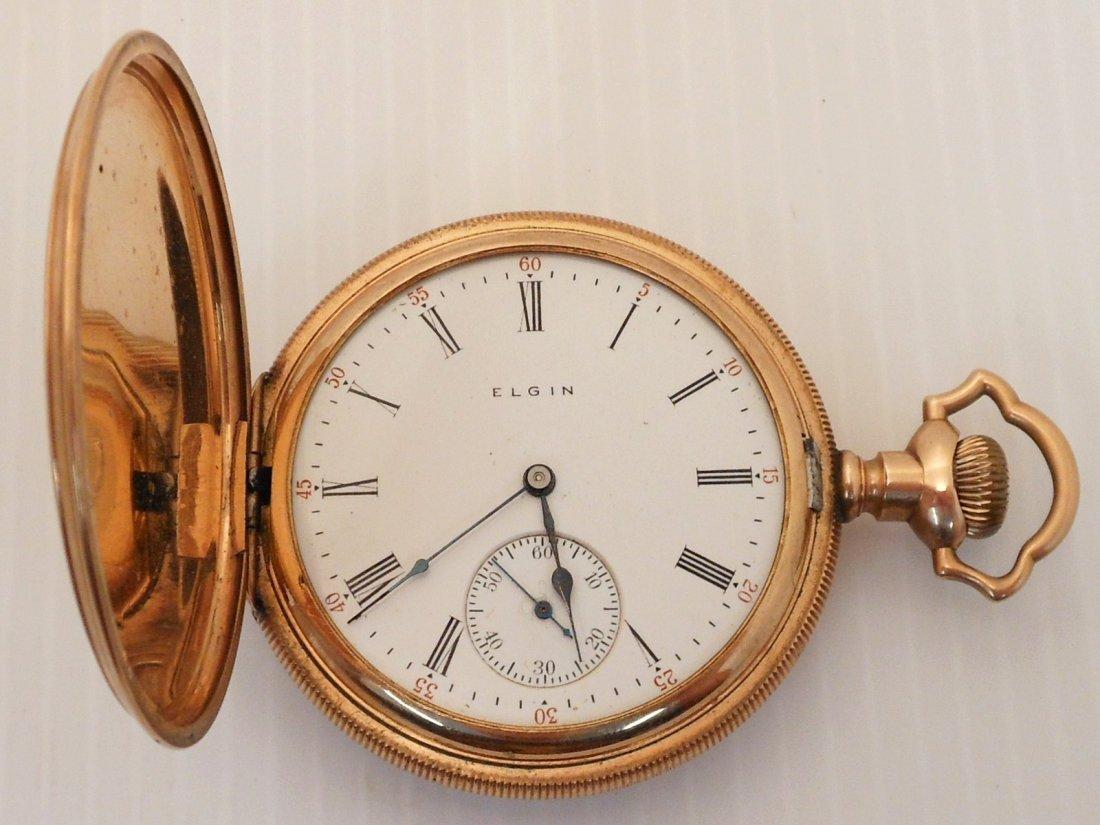 Elgin Nat'l Gold Tone  Men's Hunter Case Pocketwatch