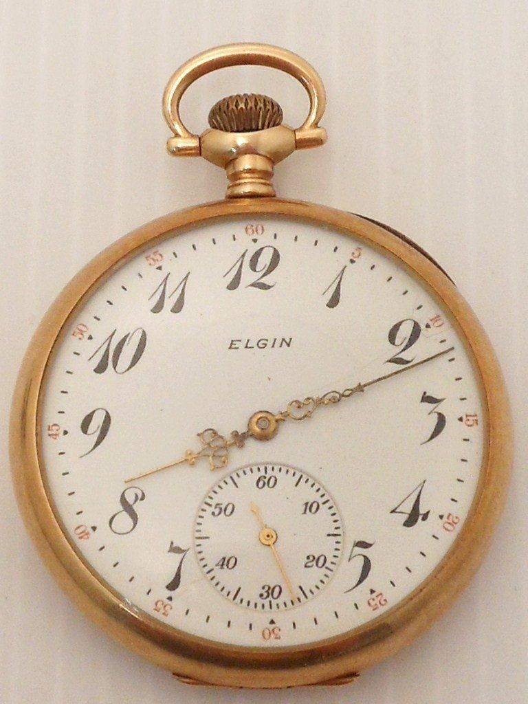 Elgin Nat'l 17 Jewel 14K Yellow Gold  Mens Pocketwatch