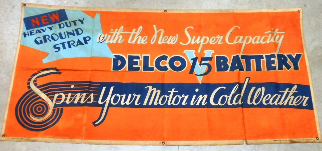 Vintage Delco Batteries Advertising Banner