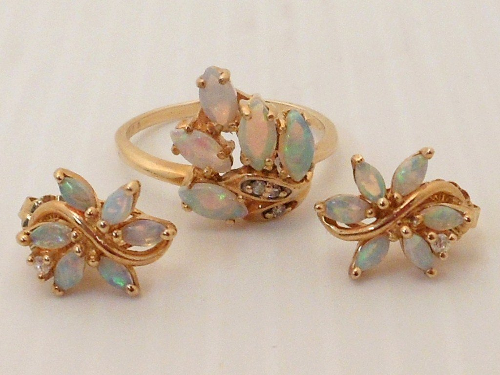 14K Gold Opal Ring and Earring Set