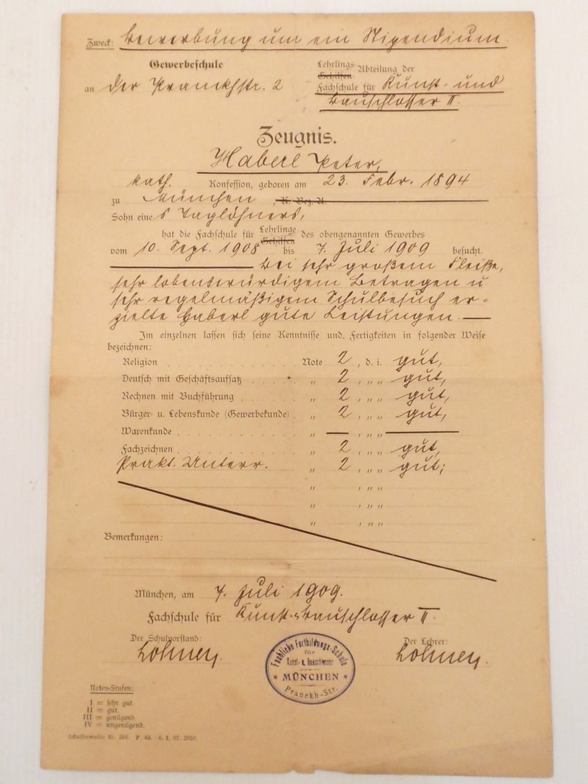 German 'Trade School' Report Card Dated 1909
