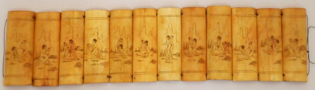 Erotic Scrimshaw Carvings on Bone Panels