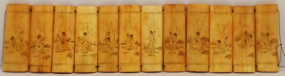 Erotic Scrimshaw Carvings on Bone Panels - 2