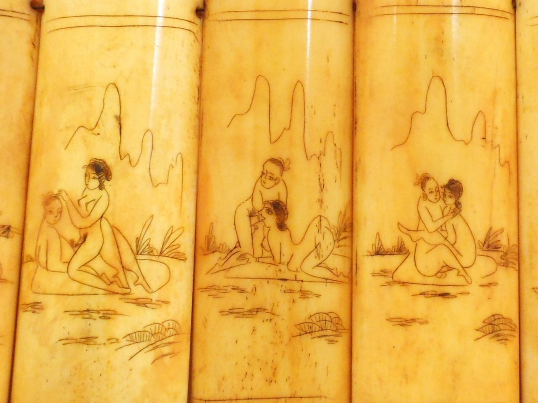 Erotic Scrimshaw Carvings on Bone Panels - 4